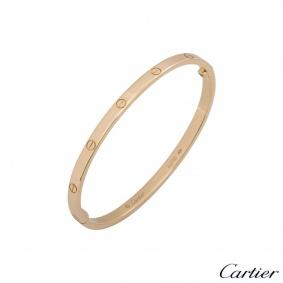 Cartier Rose Gold Plain Love Bracelet SM Size 17 B6047317